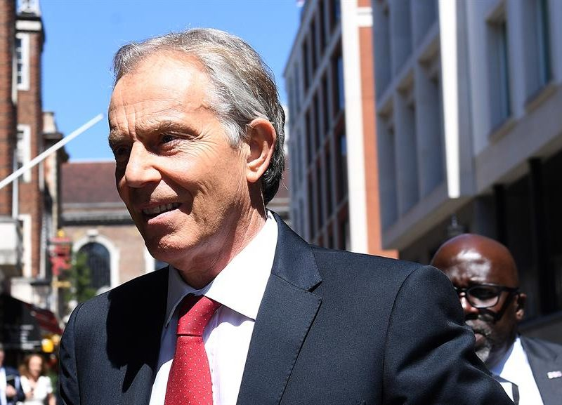 Alt= El ex primer ministro laborista Tony Blair en Londres.EFE/ Andy Rain/Archivo