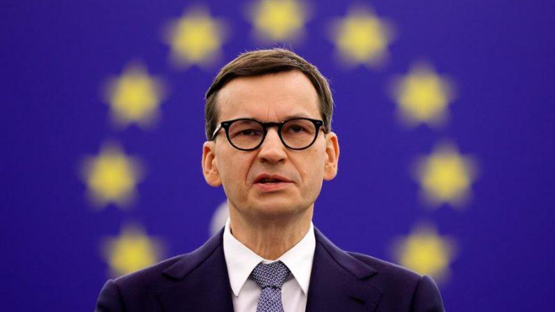 Alt= El primer ministro polaco, Mateusz Morawiecki, este martes durante su discurso en el Parlamento Europeo en Estrasburgo, Francia. EFE/EPA/RONALD WITTEK / POOL