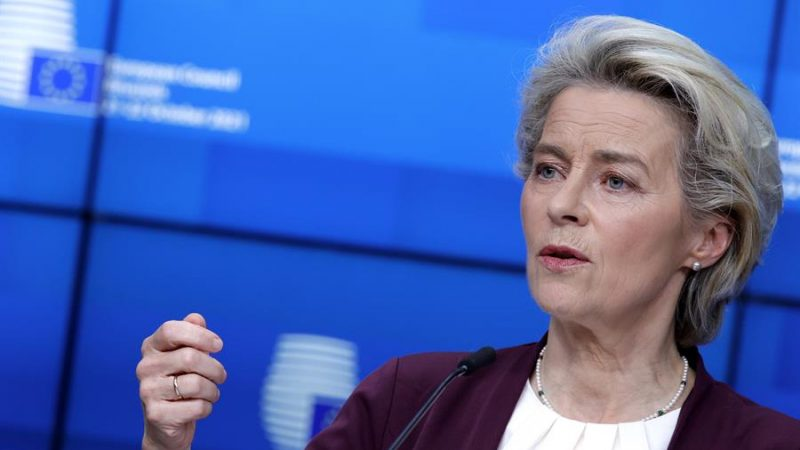 Alt=La presidenta de la Comisión Europea, Ursula von der Leyen, en Bruselas, Bélgica. EFE/EPA/Olivier Matthys / POOL /Archivo